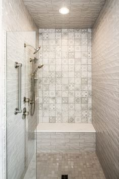 Gray Shower Tile, Shower Wall Panels, Master Bathroom Shower, Pool Storage, Flooring, Grey Tiles, Bathroom Shower, Bathrooms Remodel, Grey Floor Tiles
