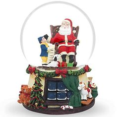 Boy and Dog Reading List to Santa Claus Water Musical Snow Globe