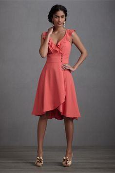 The wrap dress style is super flattering for tummies, and the tiny sleeve is nice for hiding straps.