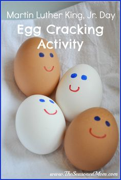 Day Egg Cracking Activity: indoor fun for preschoolers! The Seasoned MomMartin Luther King, Jr. Day Egg Cracking Activity: indoor fun for preschoolers! The Seasoned Mom Mlk Jr Day, Diversity Activities, King Craft, Hansel Y Gretel, Black History Month Activities, King Jr, Preschool Activities, Healthy Crafts For Preschool, Scout Activities
