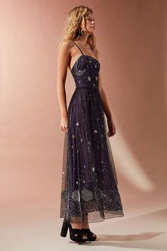 UO Darkest Hour Embroidered Sequin Midi Dress | Urban Outfitters | Women's | Dresses