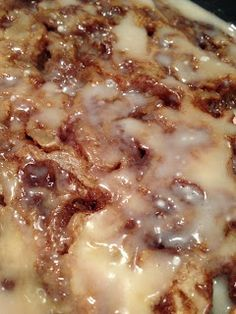 Adventures: Cinnamon Roll Cake This has become my signature dessert. My family of 6 loves it, and it is a frequent request from our extended family! Sinful delight. :)           ~K~