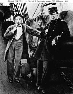 "Two of the CSS Alabama's officers on deck, during her visit to Capetown in August 1863. They are Lieutenant Arthur Sinclair IV, (left) and Lieutenant Richard F. Armstrong (USNA 1861). The gun beside them is a 32-pounder of Lt. Sinclair's Division. Halftone image, copied from Sinclair's book, ""Two Years on the Alabama"". US Naval History and Heritage Command photo # NH 57255. via Navsource"