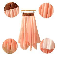 eYourlife2012 Women's Double Layers Chiffon Irregular High Low Summer Beach Skirt (Pink)