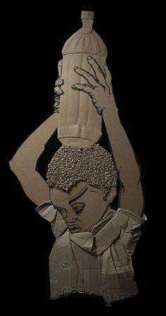Black Aesthetic - Recycled Art/Corrugated Cardboard -Kiu by Ali Golzad Cardboard Sculpture, Cardboard Art, Cardboard Relief, Paper Sculptures, Sculpture Projects, Sculpture Art, Sculpture Lessons, High School Art Projects, Recycling