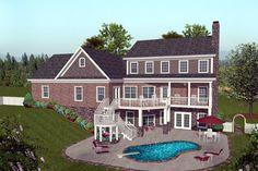 Rear Elevation of Craftsman   House Plan 74817