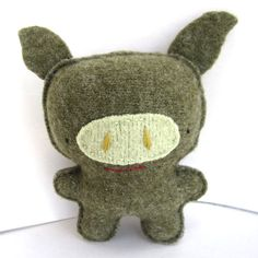 Olive Green Pig  Recycled Wool Plush Toy by sighfoo on Etsy, $18.00