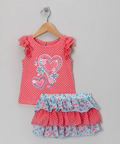 Nannette Orange Heart Top & Skirt - Infant by Nannette #zulily #zulilyfinds