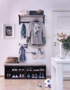 Garderobe How To Use IKEA Products To Build Shoe Storage Systems - Home And Decoration Interesting F Build Shoe Storage, Entryway Shoe Storage, Ikea Entryway, Ikea Storage, Storage Hacks, Entryway Ideas, Storage Ideas, Ikea Tjusig, Nordli Ikea