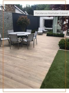 """These stunning outdoor porcelain wood-effect tiles look fantastic in this beautifully landscaped garden transformation in Dublin. Tiles are """"Porcelanosa Manhattan Colonial"""" from TileStyle. Outdoor Wood Flooring, Outdoor Tiles, Outdoor Decor, Garden Tiles, Patio Tiles, Porch Tile, Wood Effect Floor Tiles, Wood Look Tile, Landscape Design"""