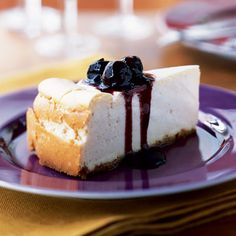 Vanilla Cheesecake with Cherry Topping - 100 Healthy Dessert Ideas - Cooking Light