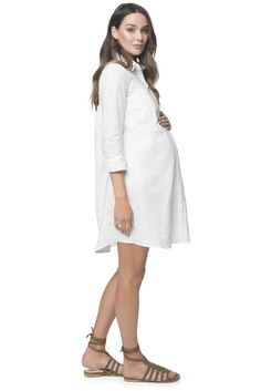 126d2fec96 White Maternity Dress  Forever Young Shirtdress  BAE The Label Maternity  Midi Dress