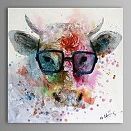 Abstract/Animal Oil Painting Hand-Painted Canvas ... – USD $ 79.99