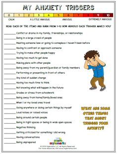 Help kids explore their triggers for anxiety with this helpful worksheet from Mylemarks! #anxiety #copingskills #anxietytriggers #mylemarks
