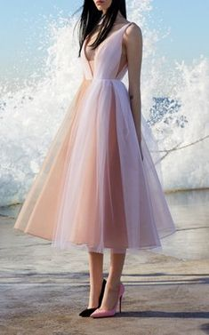 Tulle V Neck Midi Dress by Alex Perry Resort 2019