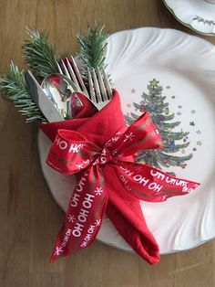 Wrap silverware in napkin and tie with ribbon