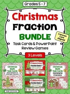 This Christmas Fraction Bundle features 72 Differentiated Task Cards and 2 PowerPoint Review Games on Fractions.  Both sets of Task Cards have 3 levels for easy differentiation.  Both PowerPoint Review games are editable so you can customize the text for your classroom.