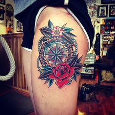 Tattoo Pictures and Tattoo Inspiration Cover Up Tattoos For Men, Tattoos For Guys, Tattoos For Women, Traditional Compass Tattoo, Neo Traditional Tattoo, American Traditional, Traditional Sleeve, Bicep Tattoo, Calf Tattoo