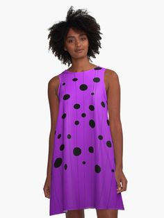 'Black ovals, dots on strings purple pattern' A-Line Dress by cool-shirts Nice Dresses, Girls Dresses, Summer Dresses, Chic Outfits, Girl Outfits, Bandana Design, Purple Pattern, Girls Leggings, Cool Shirts