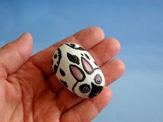 Bunny spotted white rabbit miniature animal painted by RockArtiste