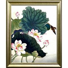 Asian Style Lotus Pond Canvas Oil Painting