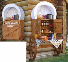 Great idea for a backyard Chuck Wagon to hold items you need for Dutch Oven or Fire Pit Cooking! Need this in my future house! Diy Furniture Plans, Outdoor Furniture Sets, Outdoor Decor, Outdoor Ideas, Antique Furniture, Rustic Outdoor, Fine Furniture, Outdoor Fire, Outdoor Living