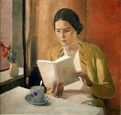 themirame: Alexander Deineka, Russian, Woman Reading, 1934 (not Edward Hopper) Art And Illustration, Reading Art, Woman Reading, Reading Books, Tea Reading, Claude Monet, Female Art, Painting & Drawing, Book Art