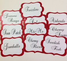 Candy Buffet Tags Candy Buffet Jar Lables Food by SweetLoveCandy