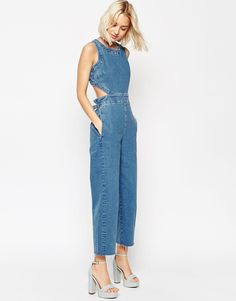 Image 4 of ASOS Denim Wide Leg Cut Out Jumpsuit In Pretty Vintage Wash