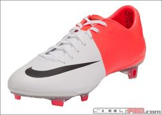 Nike Mercurial Vapor VIII Firm Ground Soccer Cleats - White with Solar Red and Black...$197.99