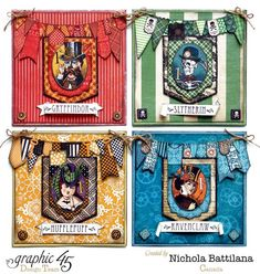 This set of cards is just magnificent by Nichola - it's the Harry Potter houses in cards! #Graphic45 #cards