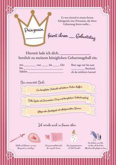 Eine Prinzessinneneinladung Für Den Nächsten Kindergeburtstag.