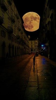 New moon, Turin, Italy