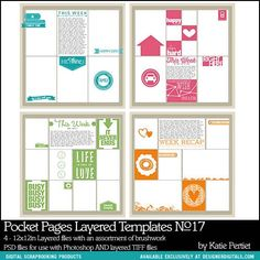 Pocket Pages Layered Templates No. 17 - Digital Scrapbooking Templates