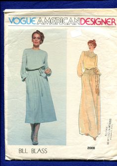 Vintage Vogue 208 Bill Blass designer dress with chevron shaped tuck details on yoke and below the waist  CIRCA 1970s  SIZE…..16...…see the sizing chart for measurements  PATTERN CONDITION CUT****PATTERN PIECES COMPLETE**  ENVELOPE CONDITION/ worn, torn, and or wrinkled corners and edges/pen marks/discolored/ taped  ***********************PLEASE NOTE ********************** ******THIS IS A SEWING PATTERN***NOT A FINISHED GARMENT***   SIZE..........4.........6..........8.......