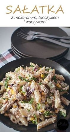 Sałatka z makaronem Cooking Recipes, Healthy Recipes, Macaroni Salad, Italian Recipes, Salad Recipes, Food Porn, Food And Drink, Healthy Eating, Healthy Food