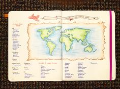 Bullet journal travel map
