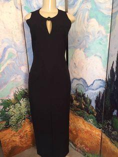 ADRIENNE VITTADINI 6 BLACK KEYHOLE NECK SLIT FRONT SLEEVELESS FULL LENGTH DRESS #AdrienneVittadini #KEYHOLENECK #Formal