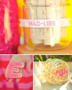 Fun idea for parties:  Mad-Libs and tape or paint words on glass serving bowls