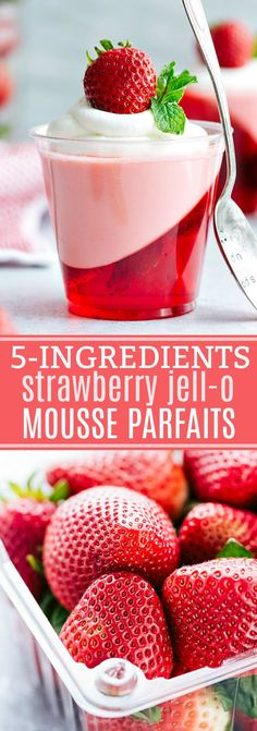 EASY and beautiful double-layered strawberry jell-o parfait cups -- strawberry jell-o on bottom and a strawberry jell-o mousse on top. (VIDEO TUTORIAL)