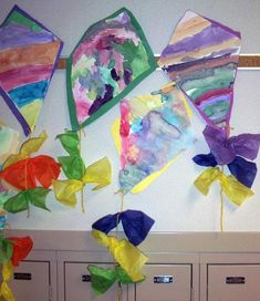 Watercolor kites - Letter K craft