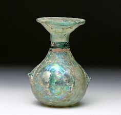 Roman Glass Sprinkler Flask - Pinched Decorations