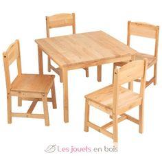 Table de ferme et ses quatre chaises - kidkraft 21421, mobilier en bois pour enfant