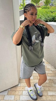 Swag Outfits For Girls, Cute Swag Outfits, Chill Outfits, Tomboy Fashion, Streetwear Fashion, Teen Fashion, Fashion Outfits, Black Girl Braided Hairstyles, Baddie Outfits Casual