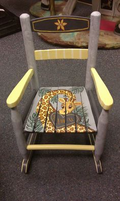 Hand painted rocker by Cherie for granddaughter Nora.