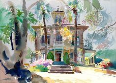 John Muir House, Martinez, 1992, California art by Ken Potter. HD giclee art prints for sale at CaliforniaWatercolor.com - original California paintings, & premium giclee prints for sale