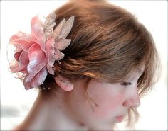 Pink Rose Bridal Hairpiece Mother of the Bride by Marcellefinery, $32.00