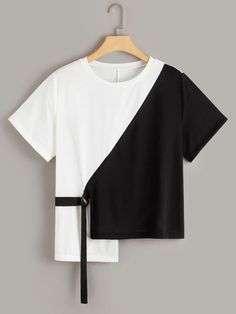 Product name: Plus Two Tone Ribbon Asymmetrical Hem Tee at SHEIN, Category: Plus Size T-shirts Indian Fashion Dresses, Girls Fashion Clothes, Teen Fashion Outfits, Look Fashion, Crop Top Outfits, Cute Casual Outfits, Stylish Outfits, Women's Casual, Casual Shirts