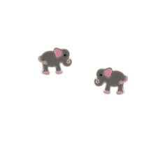 Sterling Silver Pink and Gray Elephant Stud Earrings