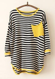 Love the pocket color! Black and White Stripes Yellow Pocket Round Neck Wool Blend Pullover Sweater #black_and_white #stripes #yellow #fashion